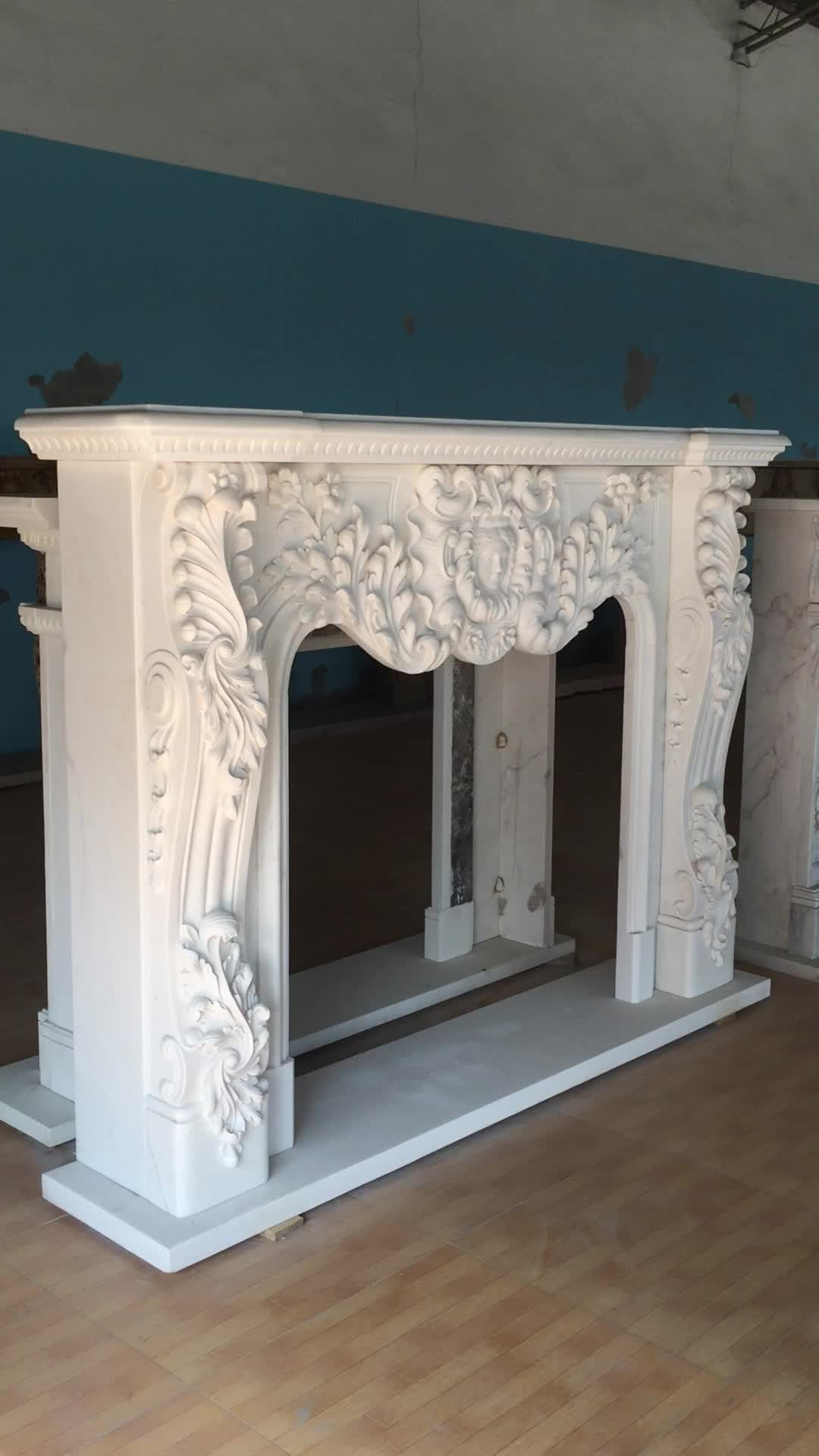 Classical White Marble Fireplace Mantel for  Indoor Decoration