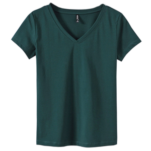 2021新款潮夏季体桖绿色v领t恤