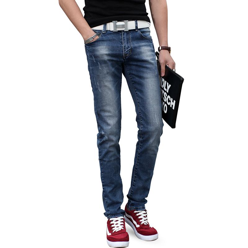 夏季男士牛仔裤男修身小脚裤韩版直筒宽松男裤潮流浅色休闲薄裤子