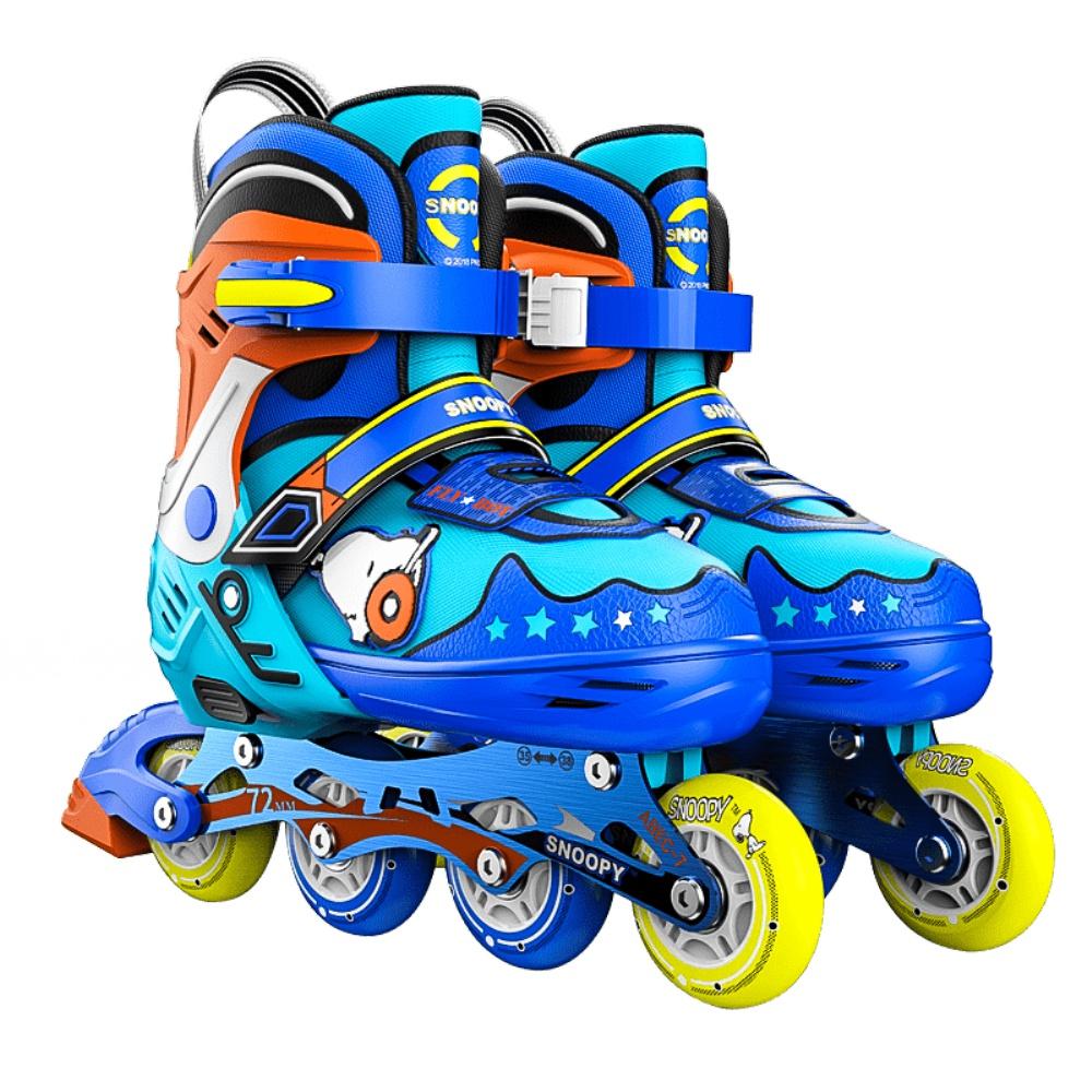 史努比溜冰鞋儿童全套装可调轮滑鞋初学者专业男女童中大童旱冰鞋