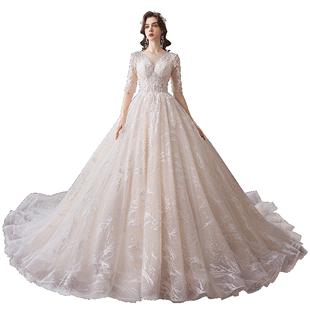 主婚紗2019新款新娘冬季森系超仙夢幻拖尾奢華禮服簡約長袖聖母女