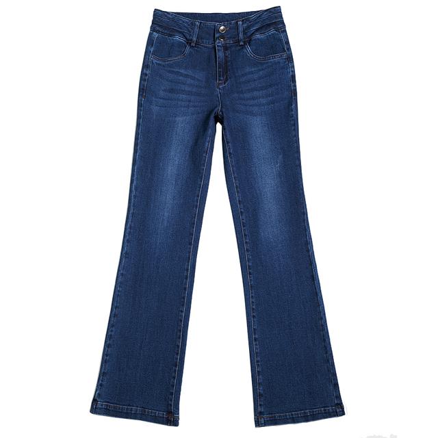 牛仔喇叭裤女高腰显瘦长裤春秋韩版宽松复古港风小直筒微喇牛仔裤