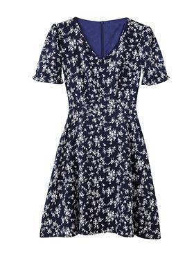 大码女装2021夏装新款短袖小碎花小个子洋气收腰雪纺中长款连衣裙