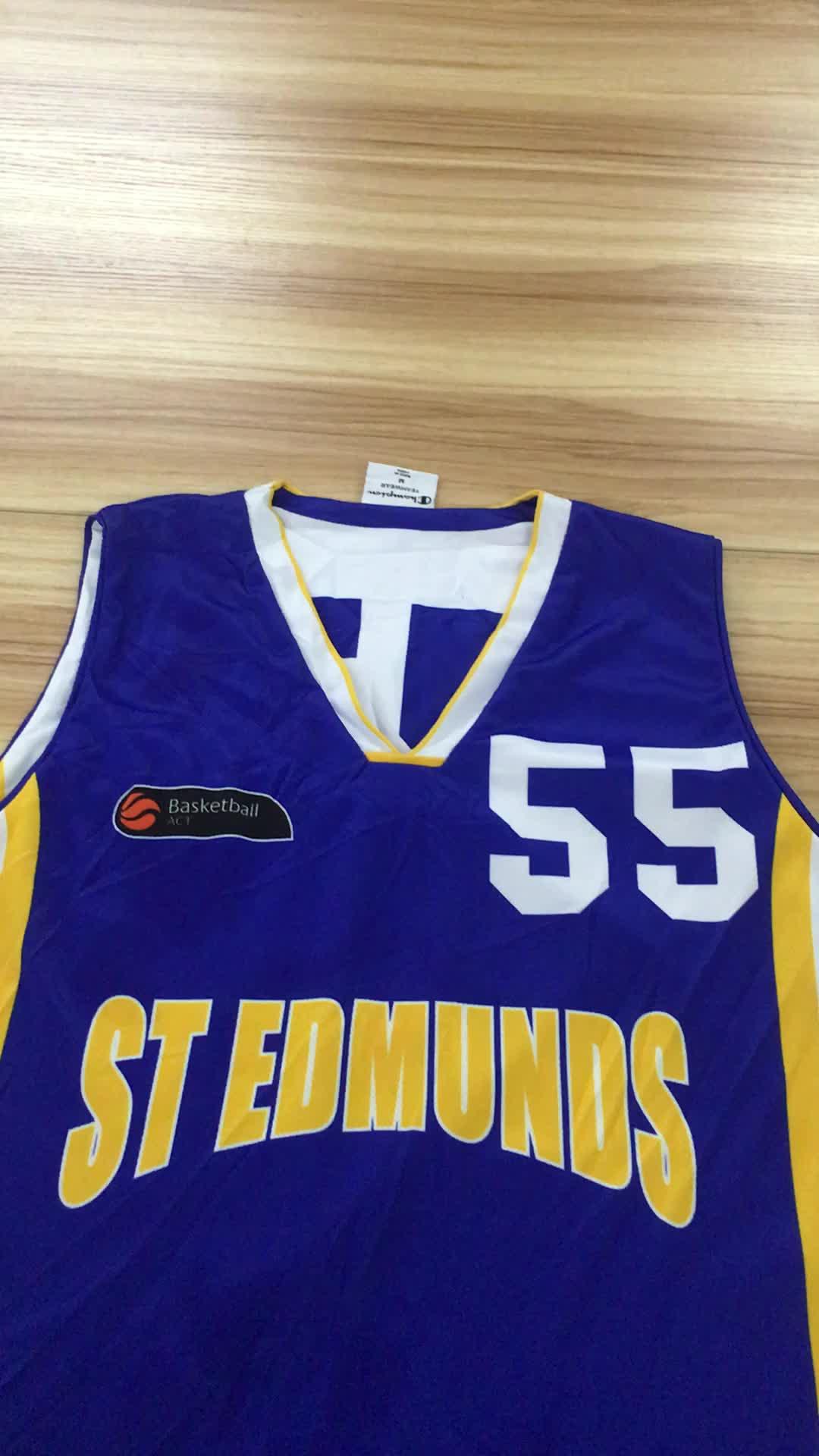 Jugend reversible individuelles Druck-Logo Basketball-Jersey-Shorts / Basketball-Team Uniform setzt Jersey-Shirts