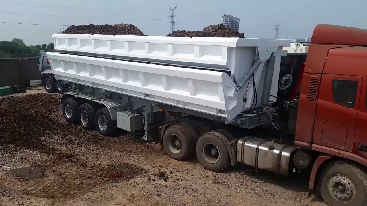 60tons Capacity Side Door Open Hydraulic Dump Semi Truck