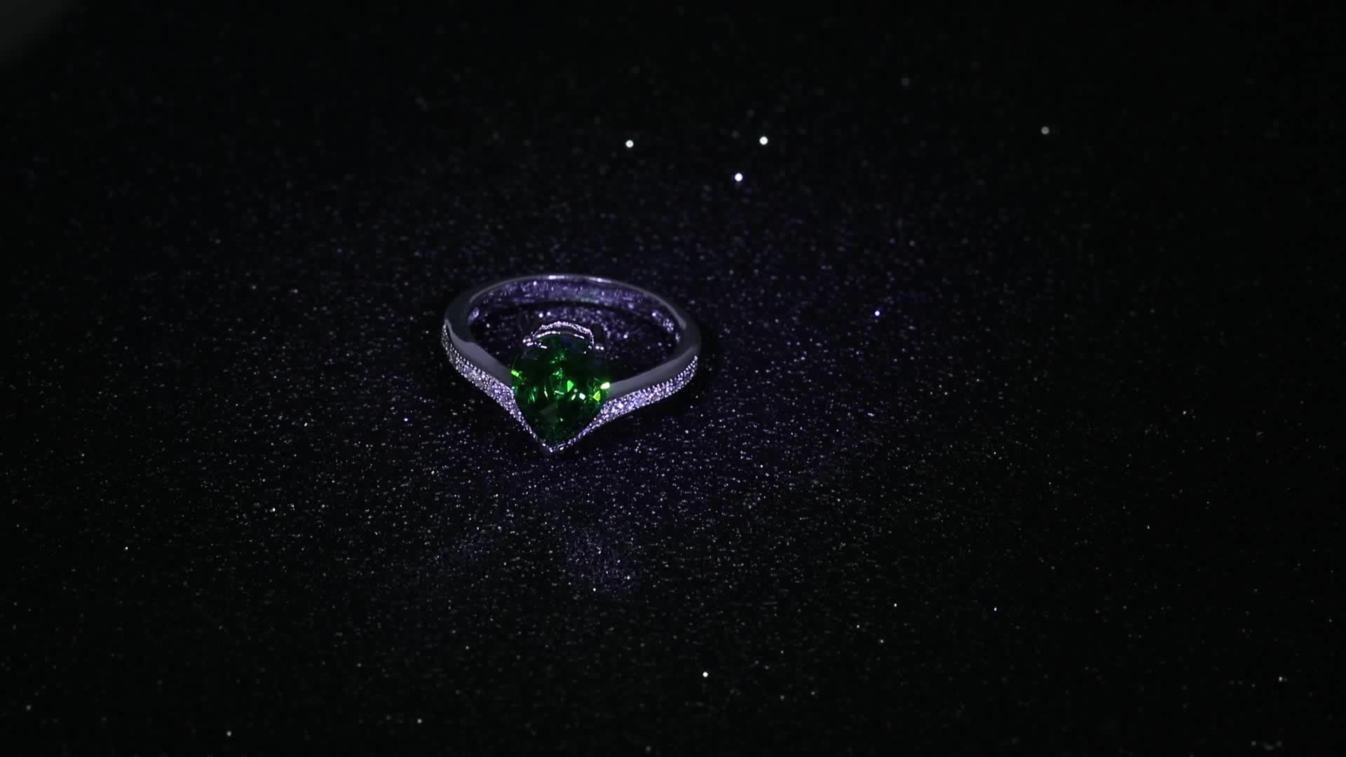 Rose gold plating green zircon stone 925 silver ring for wedding gift