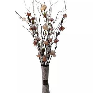 叶脉干花假客厅落地摆设件高枝花束