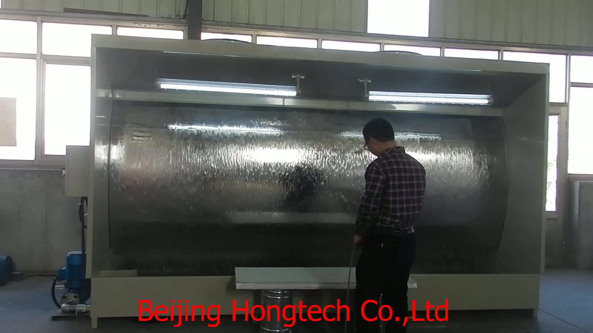 Automotive paint spray booth, water-borne paint system