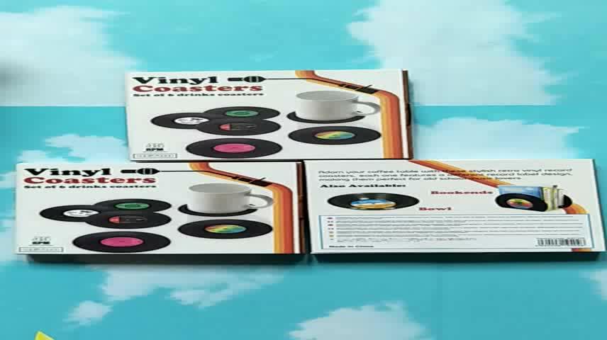 6pcs/ set Vintage spinning Retro Vinyl Record Coasters / Vinyl Coaster Cup Mat Novelty Party