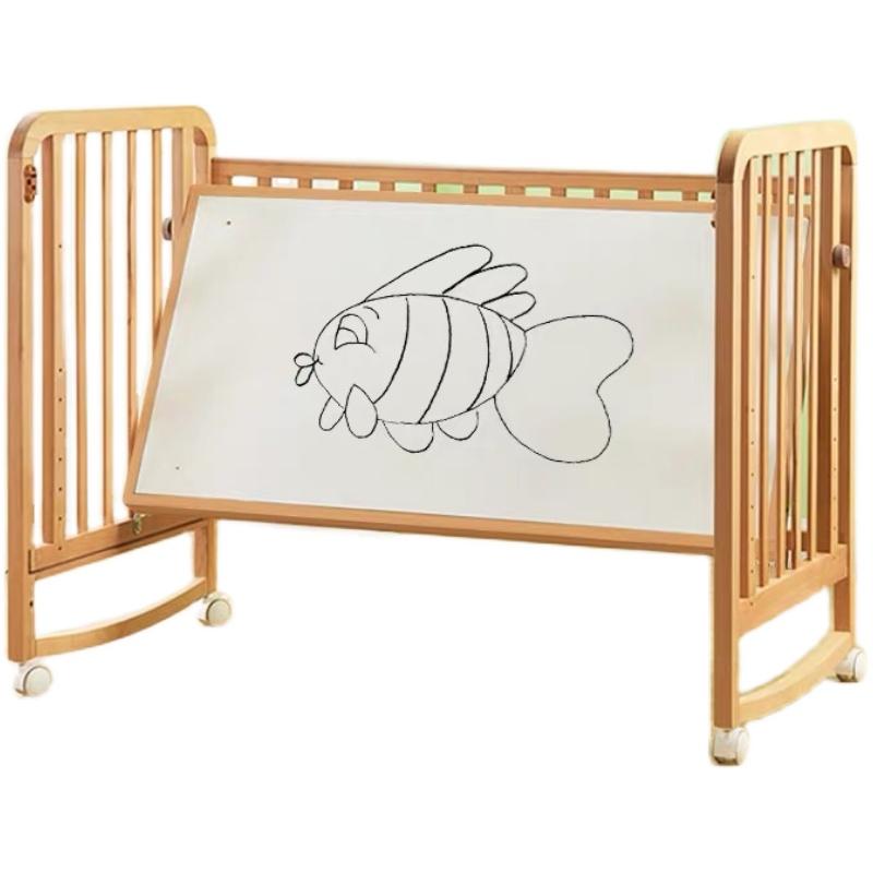 实木婴儿床拼接可移动宝宝新生大床好用吗