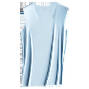 3件 莫代尔冰丝背心男士无痕修身型紧身健身运动打底内衣青年夏季