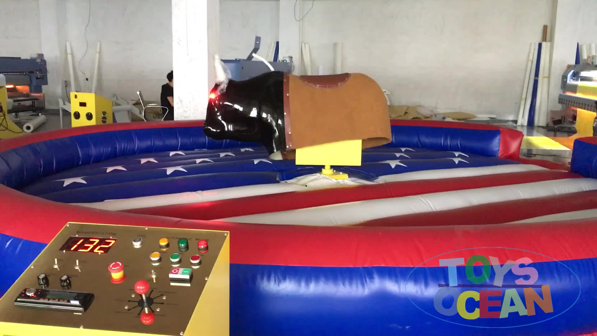 mini indoor inflatable pulling rodeo bull for children interactive sport game
