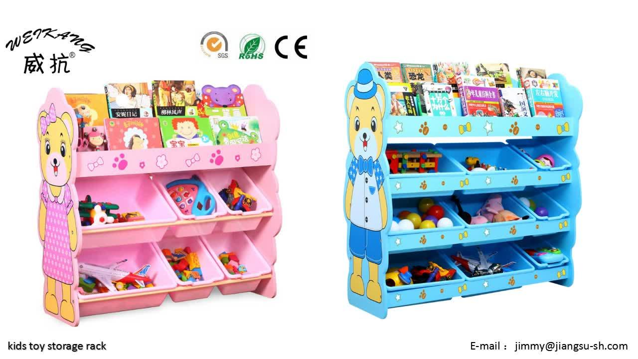 Eeo Friendly Kids Panda Cartoon Design Kids Toy Storage Shelf With Plastic  Collection Bin And