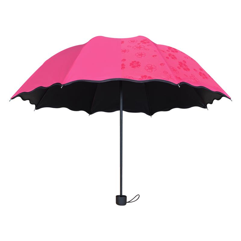 折叠两用遮阳太阳超大号黑胶晴雨伞
