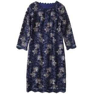 中年女装修身夏季高档喜婆婆婚宴气质连衣裙秋结婚宴婚礼妈妈礼服