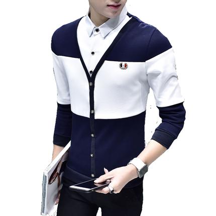 春季长袖t恤男士假两件韩版卫衣