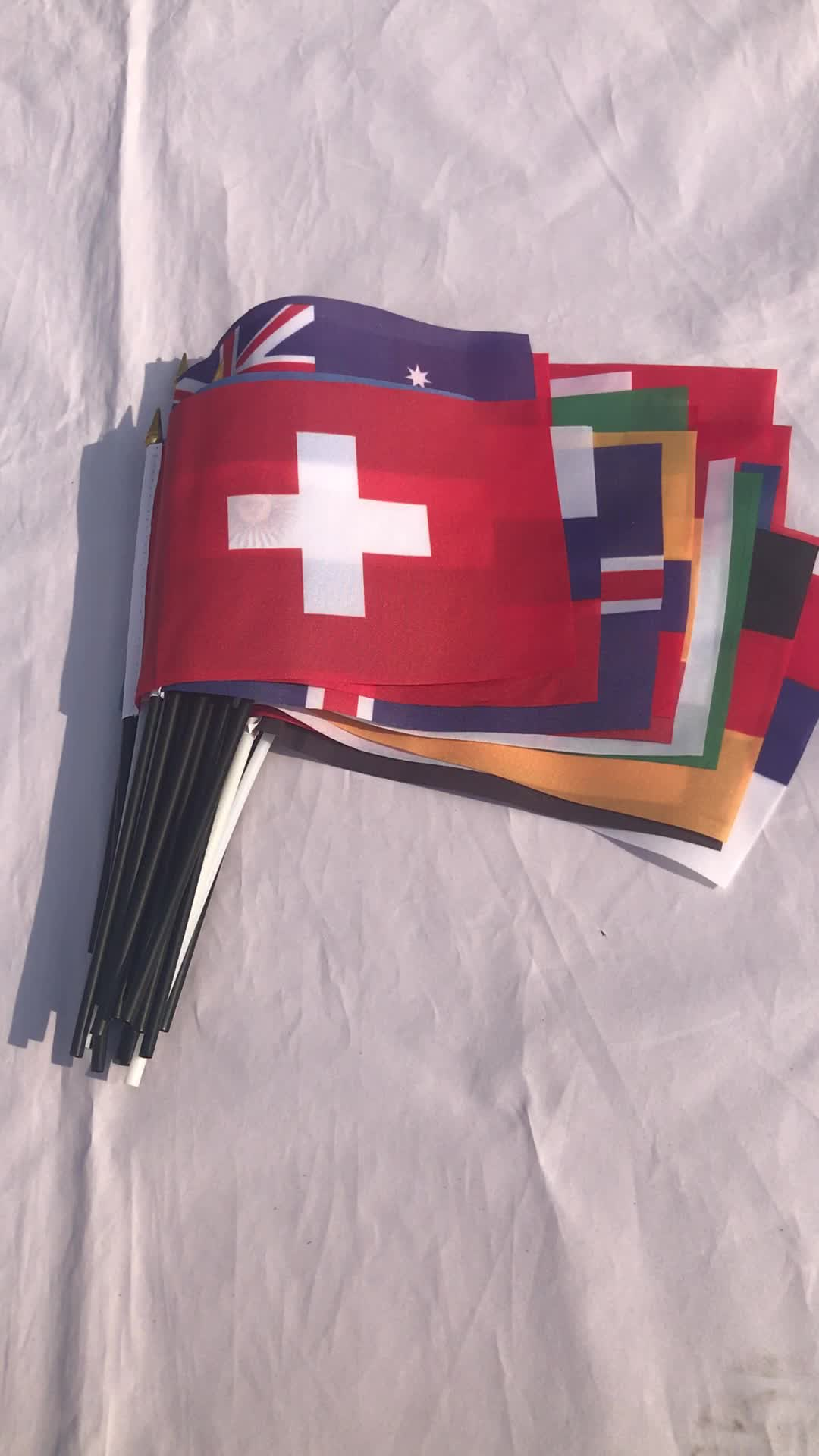 Irã copa do mundo 100D poliéster mão acenando bandeiras 14*21 cm