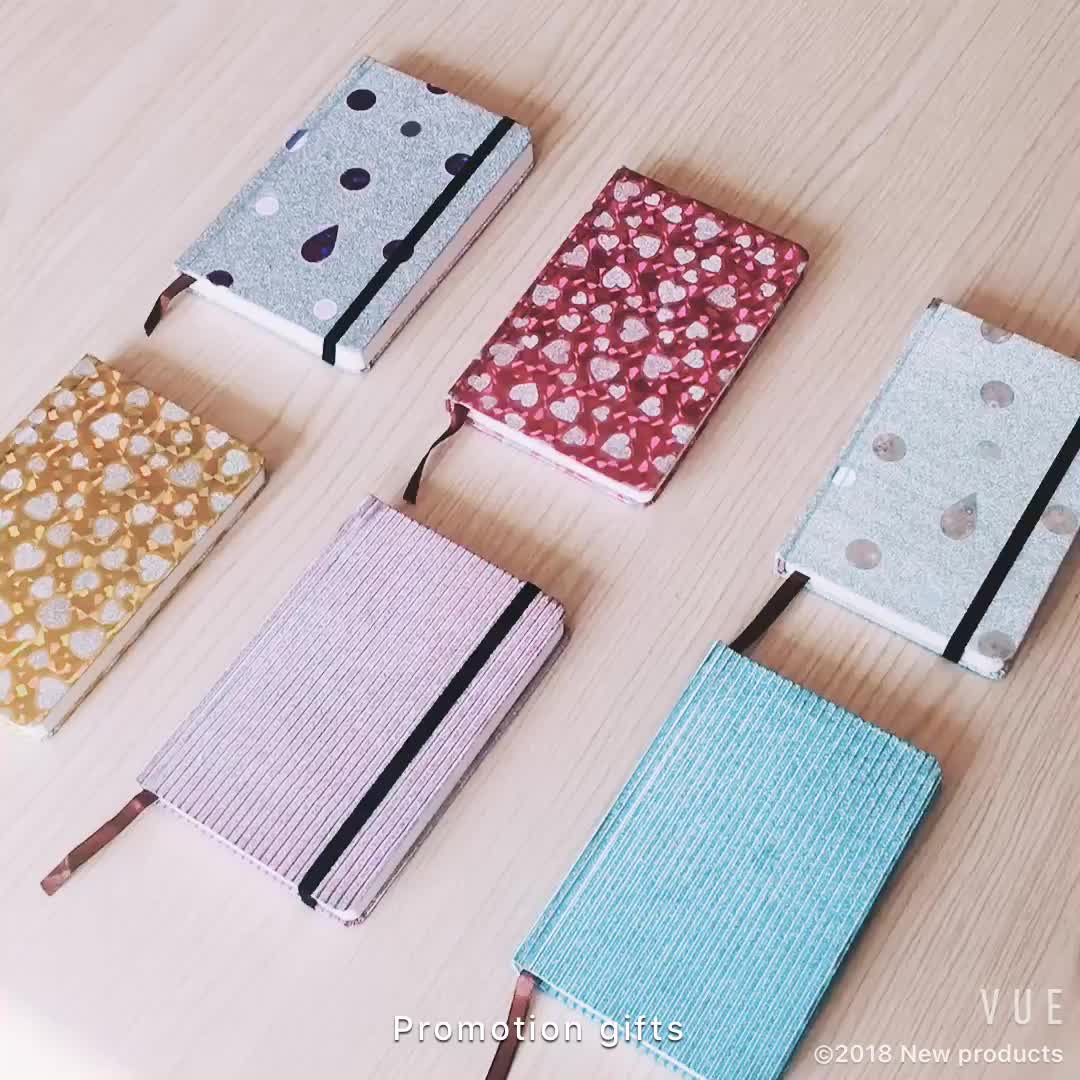 promotion Mini Fashion glitter material cover stationery notebook/journal