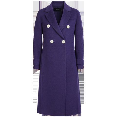 双面呢羊毛大衣女中长款修身收腰双排扣迪赛尼斯2019秋冬季新款