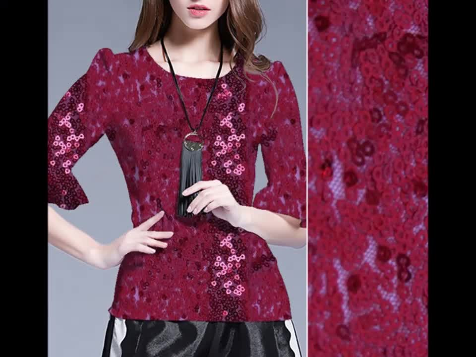Fashion sequins embroidery fabric sequins fabric china cheap fabric for garments