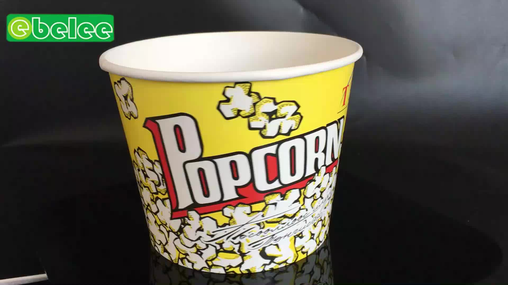 Wholesale custom printed disposable paper cinema popcorn tub bucket