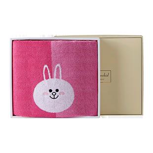 洁丽雅兰可爱布朗熊家用纯棉浴巾