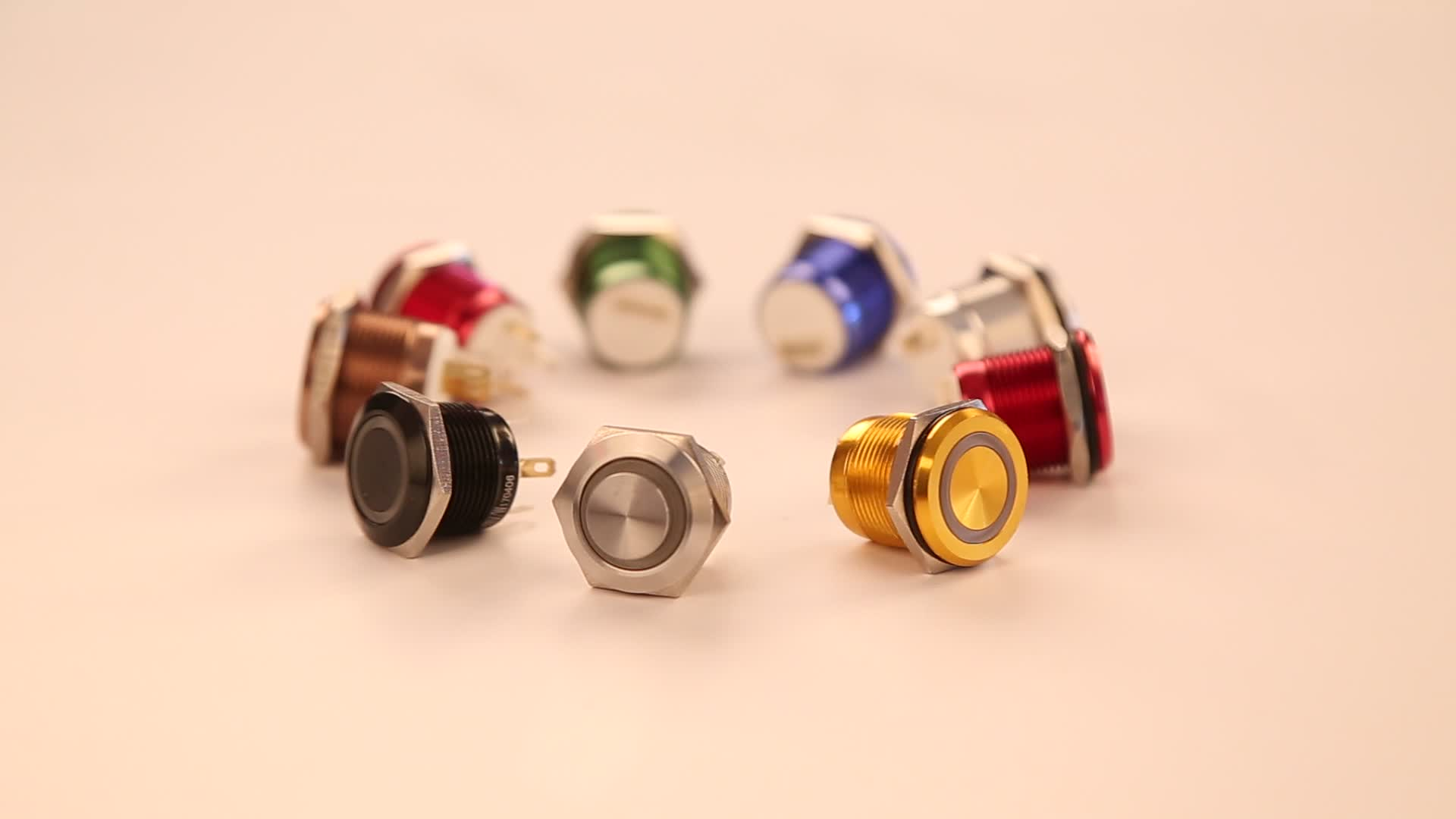 19mm Micro-travel ring led RGB led push button, 19mm Tri-color push button switch coffee machine switch