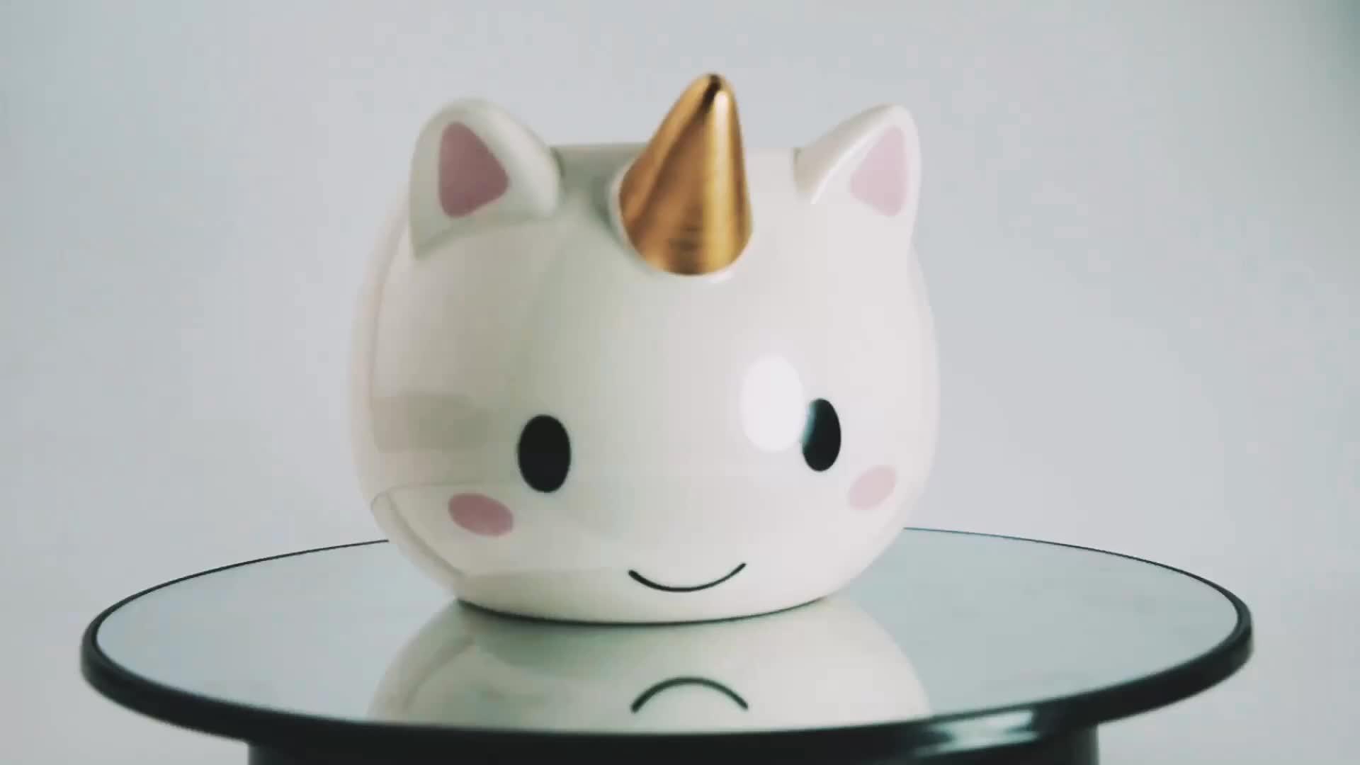 Novos produtos venda quente cerâmica 3d unicórnio caneca com chifre de ouro