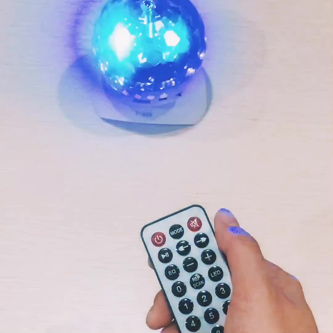 remote control battery powered multi color mini led crystal magic ball light manual with FM speaker