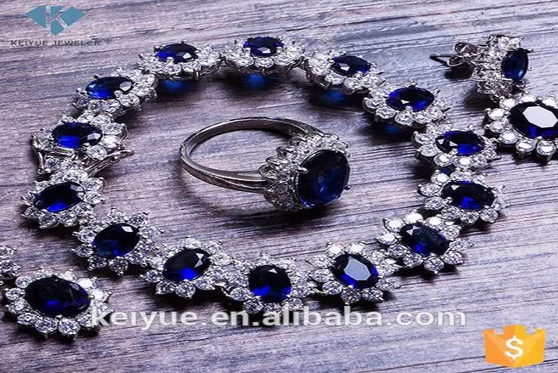 Südindische blau glas weiß cz schmuck dubai halsband halskette ohrringe schmuck sets