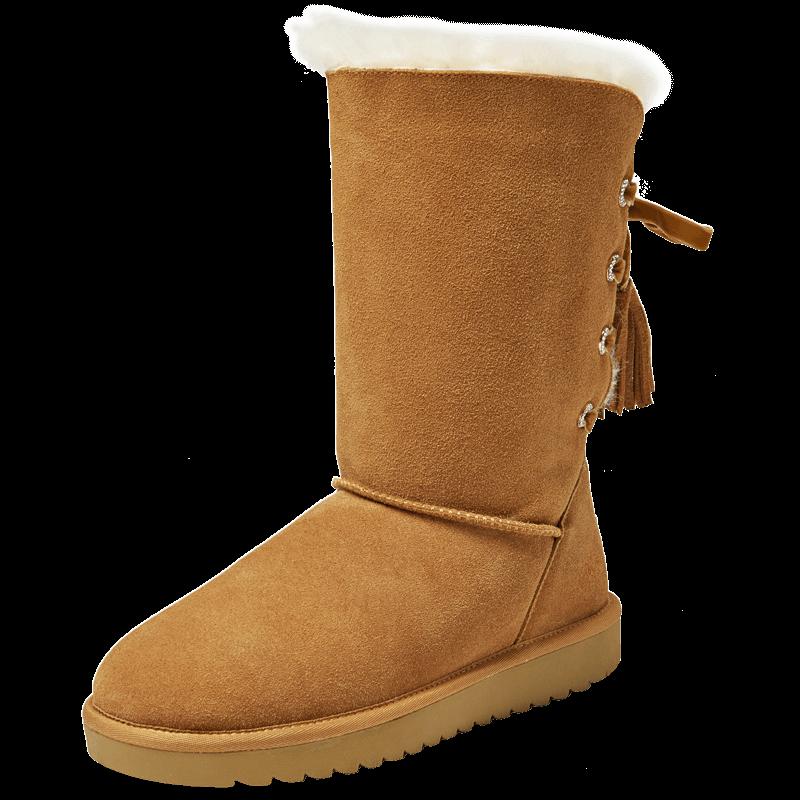 卓诗尼冬季舒适休闲雪地靴圆头平底平跟女士后系带靴子14783463