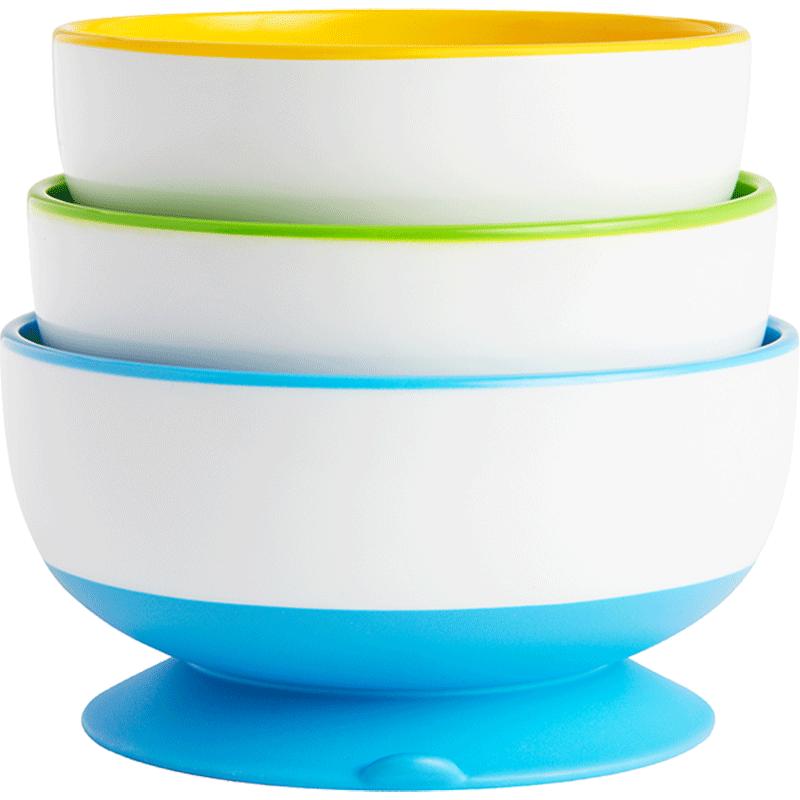 美国munchkin麦肯齐满趣健儿童防摔吸盘碗婴儿辅食碗3只套装