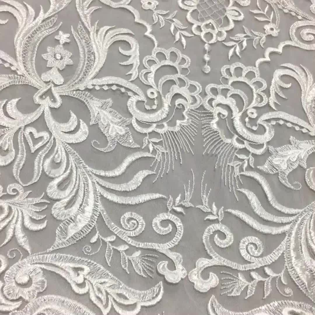 White Lace Embroidered Bridal Fabric For Decoration