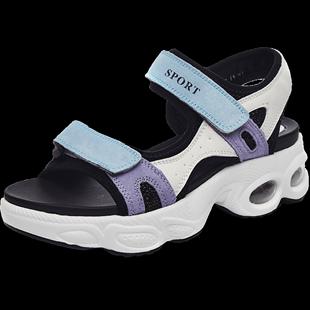 運動涼鞋女夏季2020新款百搭學生輕便平底鞋厚底鬆糕網紅女士軟底