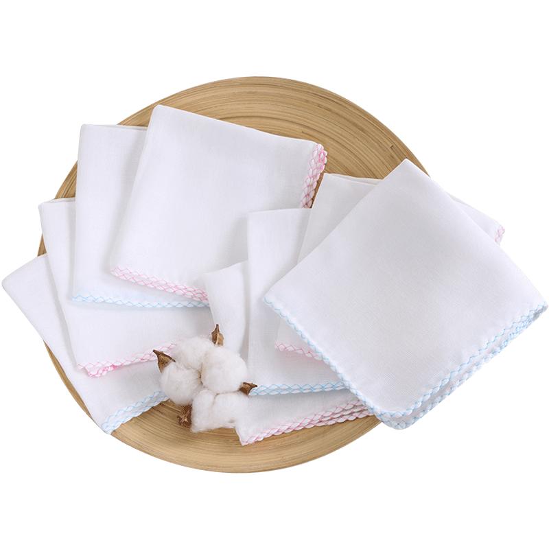 宝宝口水巾新生婴儿纱布毛巾纯棉超软小方巾薄儿童洗脸巾纱巾手帕