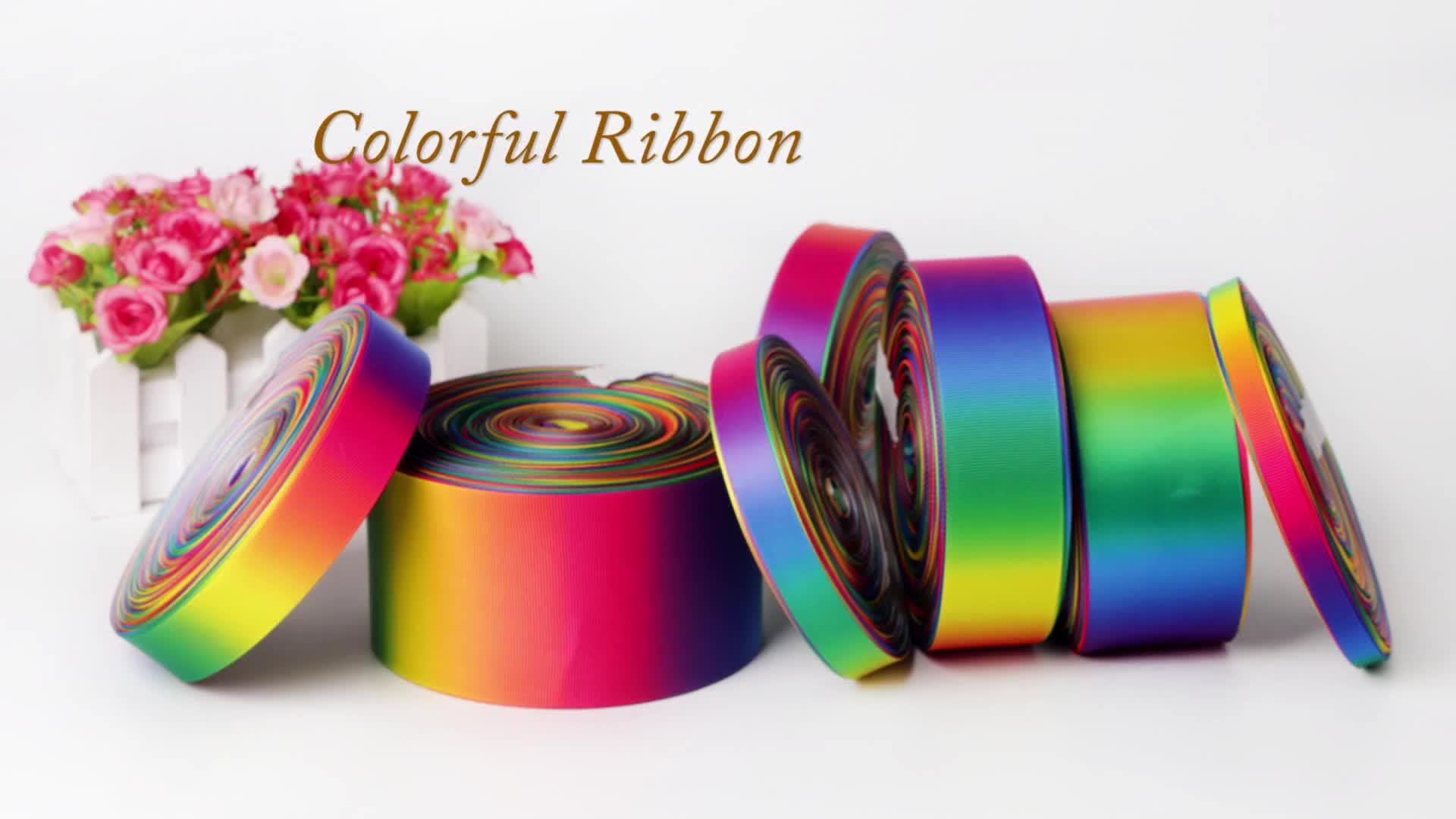 All'ingrosso su ordine del raso nastro stampato del grosgrain nastro di trasferimento di calore di stampa double face arcobaleno nastro di raso