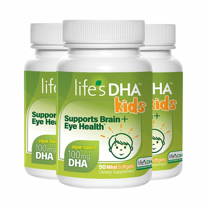 美国Life'sDHA婴幼儿童dha海藻油90粒*3宝宝补脑记忆力马泰克进口