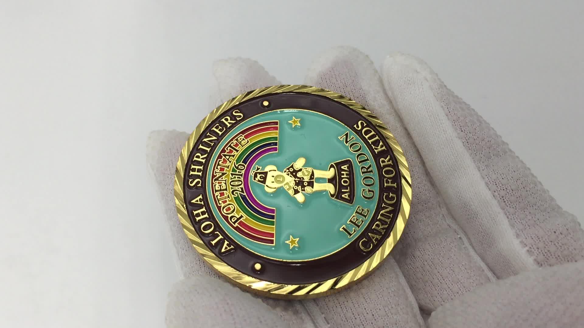 color enameled 38mm Alien custom metal game tokens