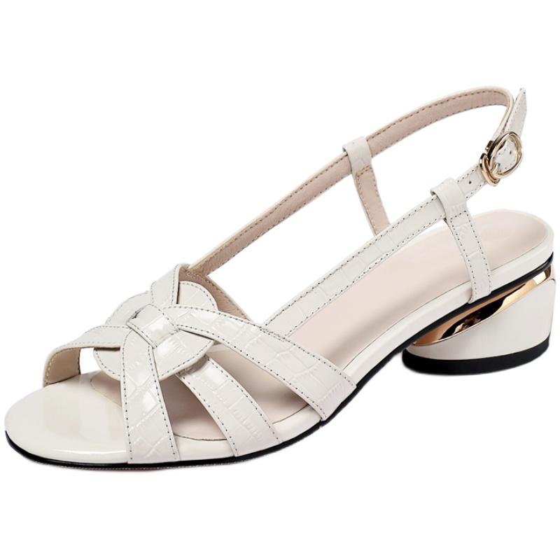 夏季新品一字扣带真皮中跟皮凉鞋质量好不好