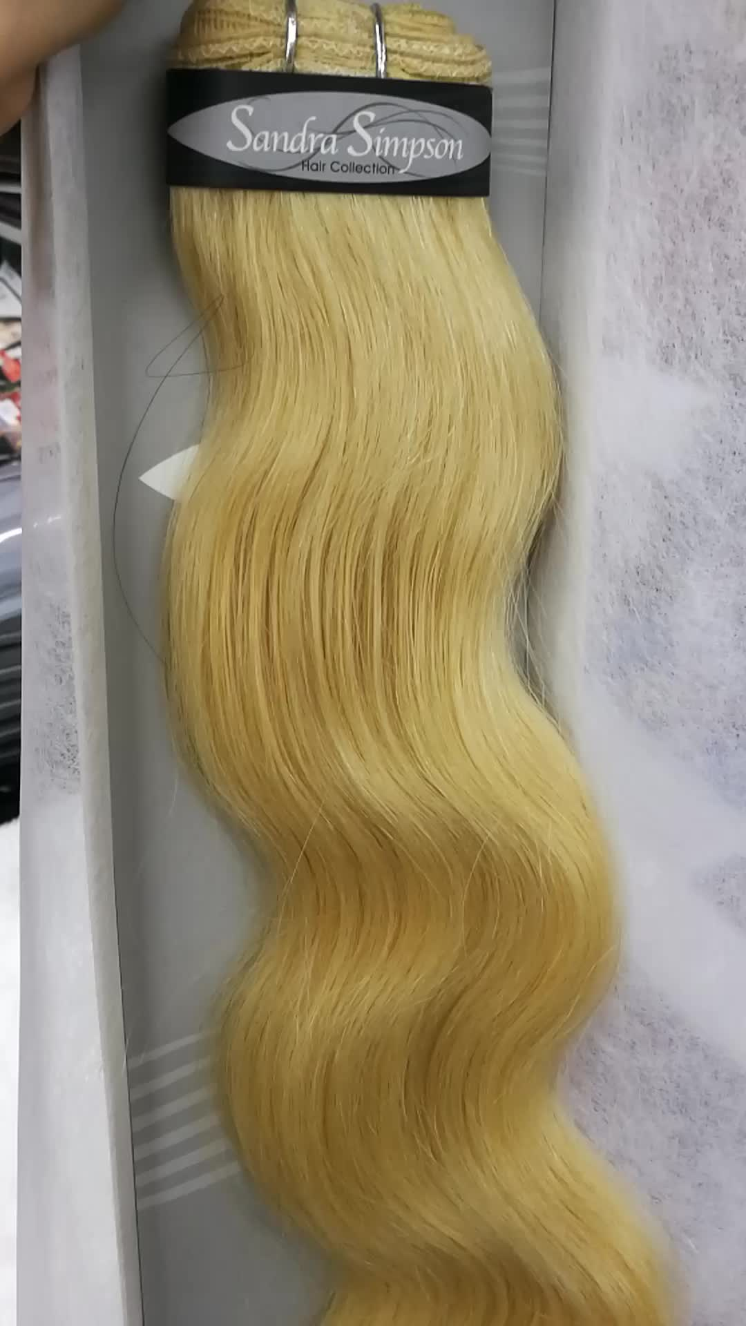 """Promotion! 100%human hair weft Body wave 18"""" and 22"""" blonde 613#,8a mink brazilian hair"""