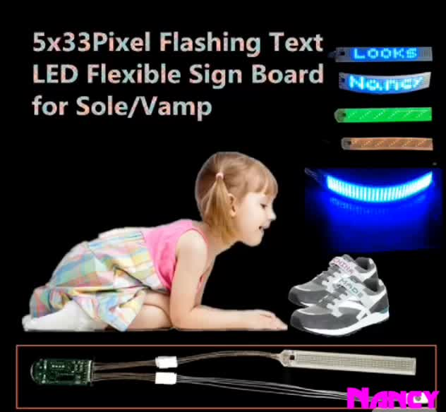5x36Pixel Flashing Text Running Words Scrolling Messages LED Flexible Strip Light for Shoes Sole and Vamp