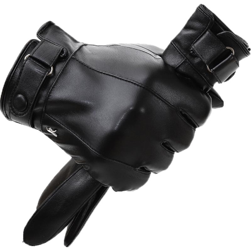 冬天手套男加绒开车骑行保暖防水防风触屏皮手套男加厚摩托车手套的白底图