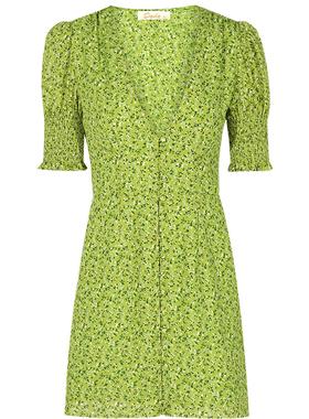 dodc绿色连衣裙2021年新款夏季设计感泡泡袖短裙法式碎花V领裙子