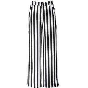 夏季新款垂感黑白竖条纹高腰长裤子