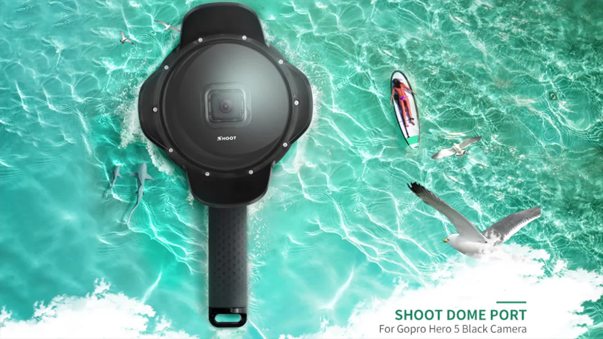 Shoot Professional Underwater Photographic Dome Port with Lens Hood for Go pro Hero 6 5