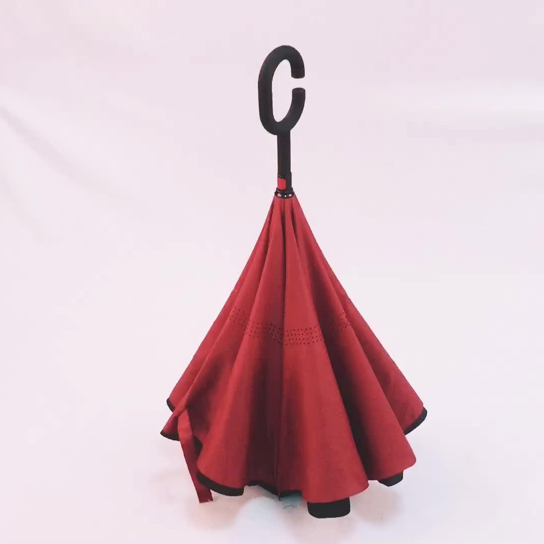Yeni Tasarım BSCI Baş Aşağı Fantezi C Kolu Ters Ters Şemsiye