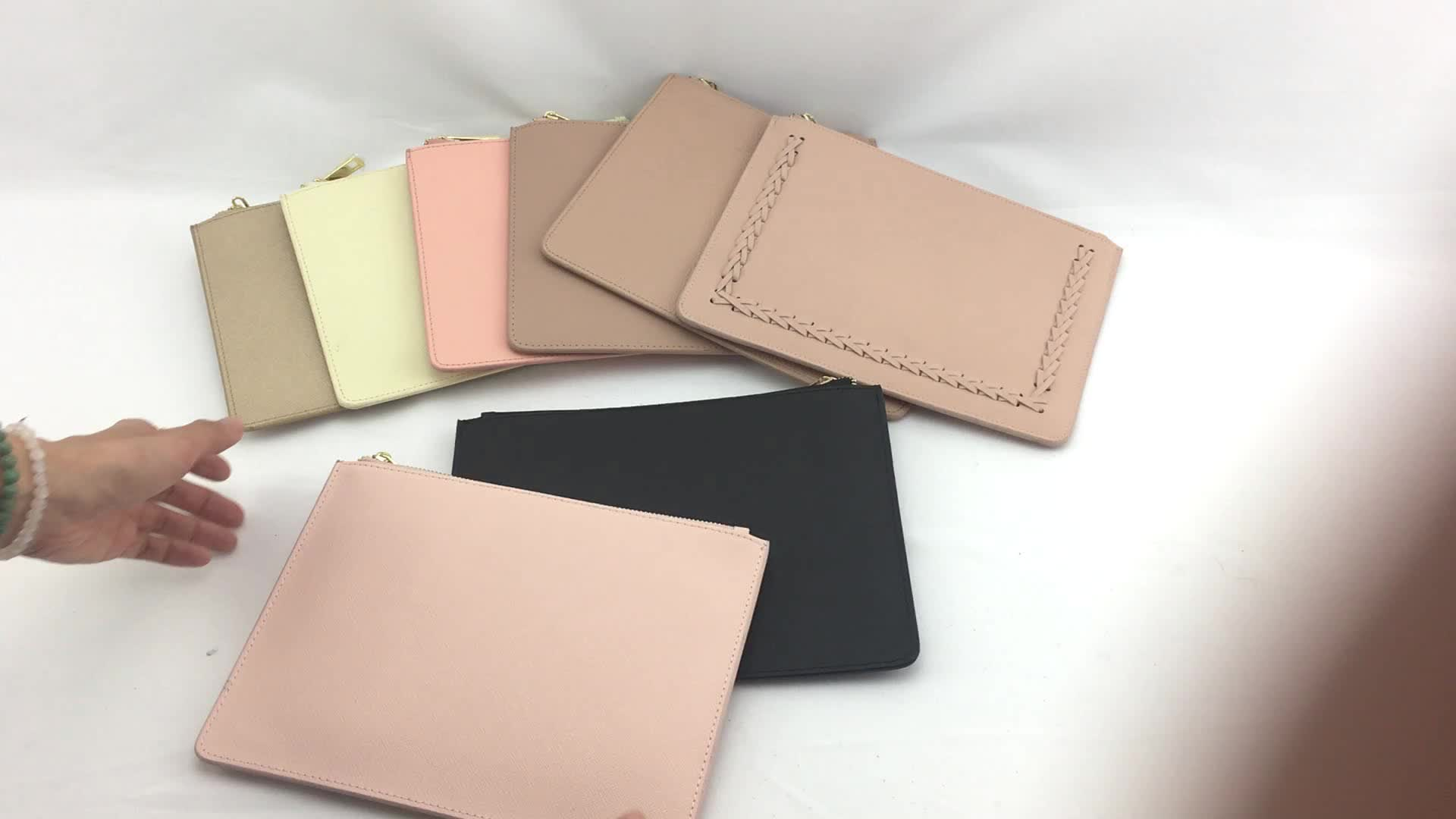 Hot Sale Genuine Saffiano Leather Pouch Zipper Bag Clutch With Gold Women Bags Zip For Business Woman