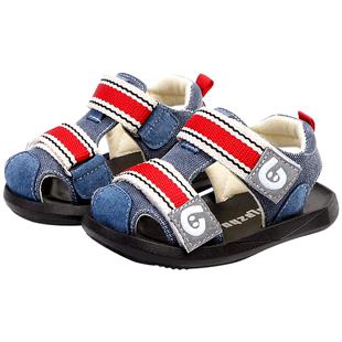 拉拉猪夏季男童机能凉鞋软底布鞋子