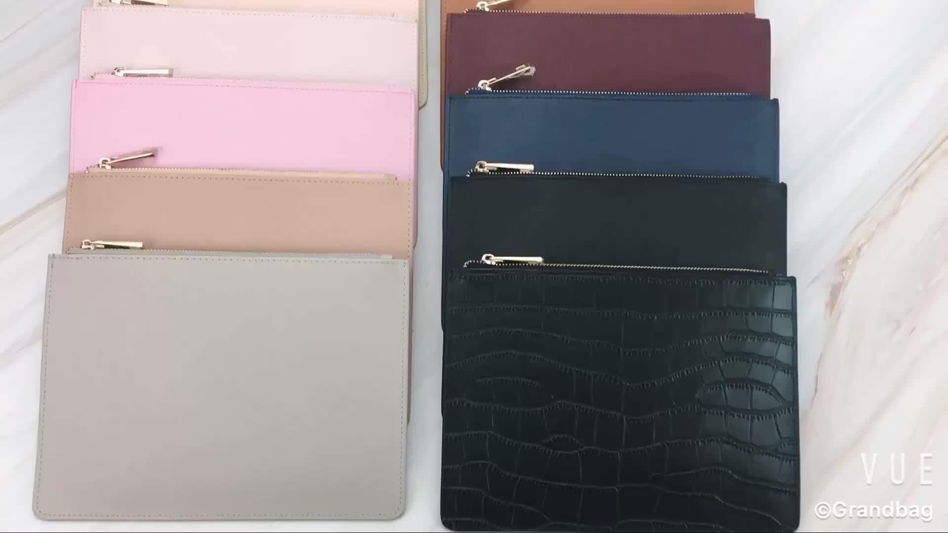 6d892539b472 Wholesale Fashion Design Customized Genuine Saffiano Leather Lady Envelope  Bag Zip Clutch Bags for woman