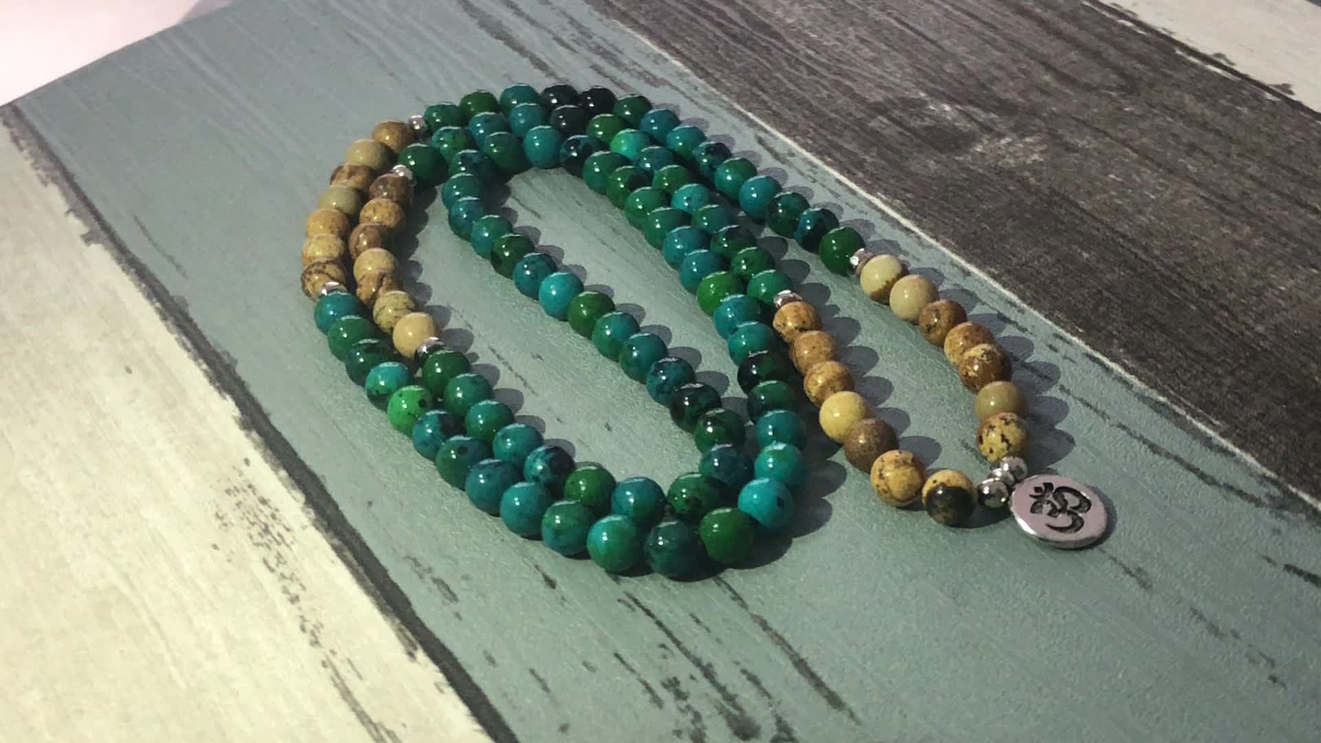 SN0953 Yoga Charm 108 Prayer Beads Wrist Green aventurine wraps Bracelet For Unisex OM Mala Yoga Bracelet